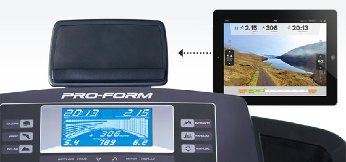 the console with an arrow showing the placement of a tablet device in the tablet holder
